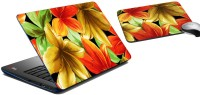 MeSleep Maple Leaves Laptop Skin And Mouse Pad 163 Combo Set (Multicolor)