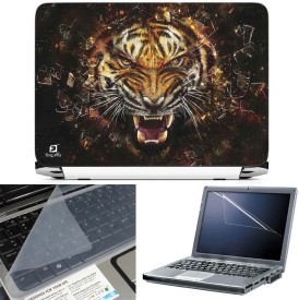 FineArts Tiger Broken Glass 3 in 1 Laptop Skin Pack With Screen Guard & Key Protector Combo Set