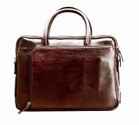 Scharf Designer Double Handle Crossbody 15 Inch Laptop Messenger Bag - Brown