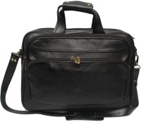 Nerita Genuine Leather 15 Inch Expandable Laptop Bag - BLACK 05
