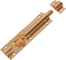SmartShophar Plain Tower Bolt Brass 4 Inches Gold