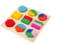 Kuhu Creations Kids Wooden Geometry Learning Educational Toys. (Multicolor)