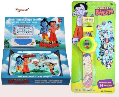 LAVIDI Combo Of Two Smart Toys For Smart Kids , Learning Educational Laptop & Projector Watch For Kids (Multicolor)