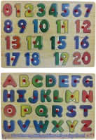 Tootpado Wooden Alphabet And Number Puzzle Picture Board With Knobs - (1c283) - Learning Educational Math Toys For Kids 18M+ (Multicolor)