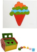 Aimedu Toy Combo Pack Of Wooden Shape Box Hut And Ice Cream Puzzle For Kids Learning (Multicolor)