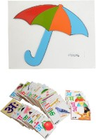 Aimedu Toy Combo Pack Of Wooden Flash Cardl Hindi Alphabet And Umbrella Puzzle For Kids Learning (Multicolor)