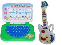 New Pinch Combo Of Mini English Learning Laptop & Musical Guitar With Button (Multicolor)