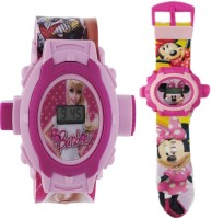 AQUARAS FABRIC AND MICKEY MOUSE 24 IMAGE PROJECTOR WATCH (Multicolor)