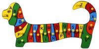 Little Genius Alphabets Dog Shape Tray With Knob (Multicolor)