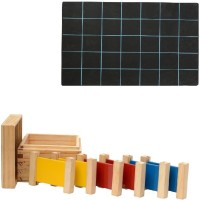 Aimedu Toy Combo Pack Of Wooden 3 Pair Primary Colour Tablet And Slate With Duster & Chalk (Multicolor)