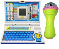 New Pinch Kids English Learner Computer Toy With 3D Lights Handheld Mike Musical Toy (Multicolor)