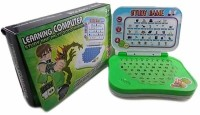 A R Enterprises Plastic Ben10 Mini English Leaning Laptop Toy For Kids - Green (Green)