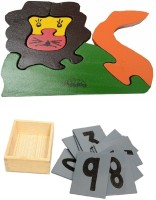 Aimedu Toy Combo Pack Of Wooden Sand Paper No. And Jigsaw Puzzle Lion For Kids Learning (Multicolor)