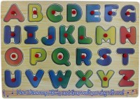 Tootpado A-Z Wooden Alphabet Puzzle Picture Board With Knobs - (1c237) - Learning Educational Math Toys For Kids 18M+ (Multicolor)