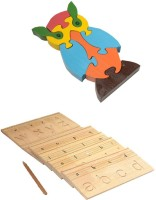 Aimedu Toy Combo Pack Of Wooden Carving Board Small And Jigsaw Puzzle Owl For Kids Learning (Multicolor)
