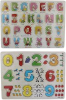 Tootpado Wooden Alphabet And Number Puzzle Picture Board With Knobs - (1c282) - Learning Educational Math Toys For Kids 18M+ (Multicolor)