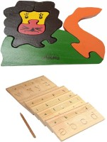 Aimedu Toy Combo Pack Of Wooden Carving Board Small And Jigsaw Puzzle Lion For Kids Learning (Multicolor)