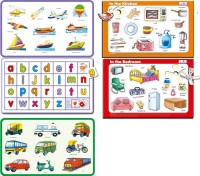 Creative's Combo Of Five-Self Correcting Puzzles Namely- Land Transport,Water & Air Transport ,In The Bedroom,Alphabet Small,In The Kitchen (Multicolor)