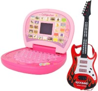 New Pinch Combo Of Kids Mini English Laptop With Small Screen & Guitar With Light & Music(large) (Multicolor)