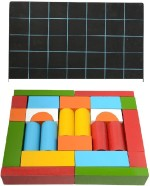 Aimedu Toy Learning & Educational Toys Aimedu Toy Combo Pack Of Wooden Building Block And Slate With Duster & Chalk For Kids Learning