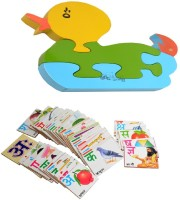 Aimedu Toy Combo Pack Of Wooden Flash Card Hindi Alphabet And Jigsaw Puzzle Duck 1 For Kids Learning (Multicolor)