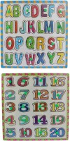 Tootpado Wooden Alphabet And Number Puzzle Picture Board With Knobs - (1c284) - Learning Educational Math Toys For Kids 18M+ (Multicolor)