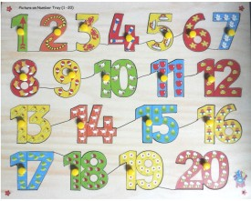 Half Degree Wooden Number Picture Puzzle - 1 to 20