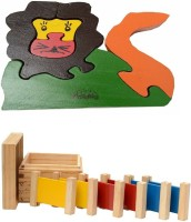 Aimedu Toy Combo Pack Of Wooden 3 Pair Primary Colour Tablet And Jigsaw Puzzle Lion For Kids Learning (Multicolor)