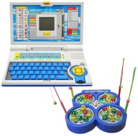 New Pinch Kids English Learner Computer Toy With Fishing Catching Game (Multicolor)