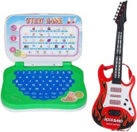 New Pinch Mini English Learning Laptop With Large Battery Operated Musical Guitar With Light And Sound (Multicolor)