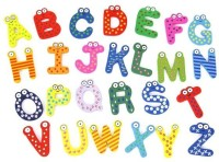 Kuhu Creations Wooden Alphabet Magnet (Multicolor)