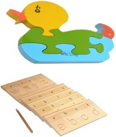 Aimedu Toy Combo Pack Of Wooden Carving Board Small And Jigsaw Puzzle Duck 1 For Kids Learning (Multicolor)
