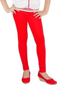 Yellow Dots Girl's Red Leggings