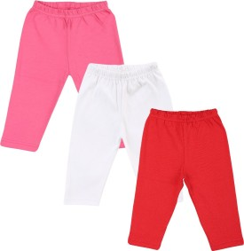Color Fly Baby Girl's Pink, Red, White Leggings Pack Of 3