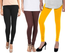 Sampoorna Collection Women's Black, Brown, Yellow Leggings Pack Of 3
