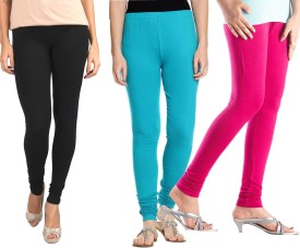 Sampoorna Collection Women's Black, Blue, Pink Leggings Pack Of 3
