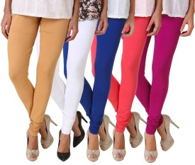 Fasense Women's Yellow, Pink, Dark Blue, White, Brown Leggings Pack Of 5