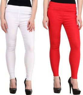 Roma Creation Girl's White, Red Jeggings Pack Of 2