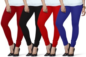 Lux Lyra Women's Red, Black, Red, Dark Blue Leggings Pack Of 4