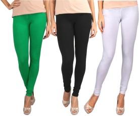Sampoorna Collection Women's Black, Green, White Leggings Pack Of 3
