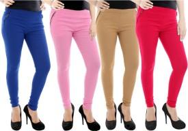 Paulzi Women's Blue, Pink, Beige, Pink Jeggings Pack Of 4