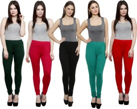 Pistaa Women's Dark Green, Pink, Black, Green, Red Leggings Pack Of 5