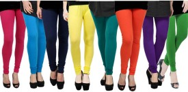 Fashion Zilla Women's Pink, Light Blue, Dark Blue, Yellow, Blue, Orange, Purple, Green Leggings Pack Of 8