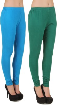 Stylishbae Women's Blue, Green Leggings Pack Of 2