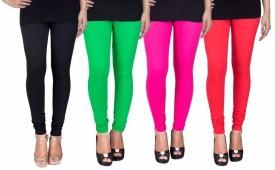 C&s Shopping Gallery Women's Black, Green, Pink, Red Leggings Pack Of 4