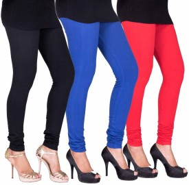 Fashion Flow+ Women's Black, Blue, Red Leggings Pack Of 3