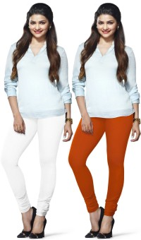 LUX Lyra Women's White, Orange Leggings Pack Of 2