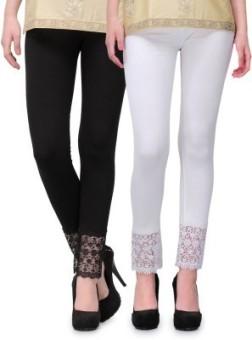 Fashion Arcade Women's Black, White Leggings Pack Of 2