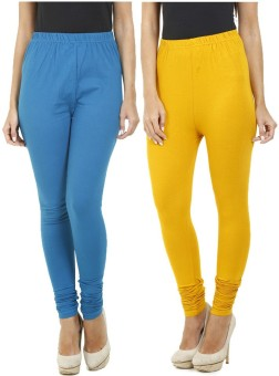 Hifi Women's Blue, Yellow Leggings Pack Of 2