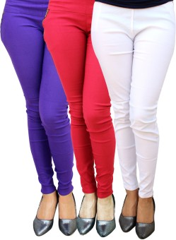 Skyline Trading Women's White, Red, Purple Jeggings Pack Of 3